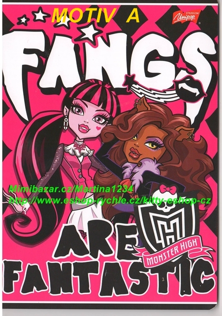 Sešit A5 Monster High 32 listů Fangs are fantastic
